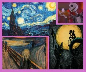 Akashic Adventure: Van Gogh Starry Night, Edvard Munch The Scream, Tim Burton Nightmare Before Christmas